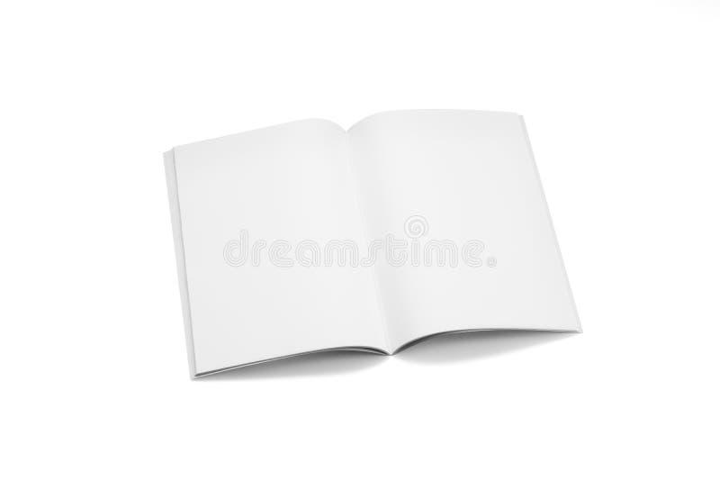 大模型杂志、书或者编目在白色桌背景 免版税库存照片