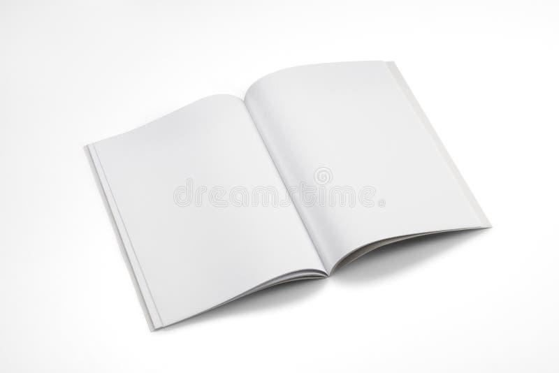 大模型杂志、书或者编目在白色桌背景 免版税库存图片