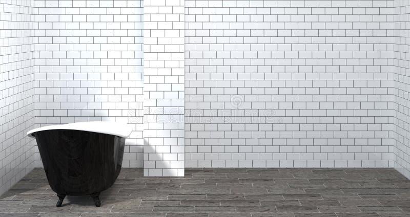 大模型模板卫生间内部,洗手间,阵雨,拷贝空间背景白色瓦片卫生间的现代家庭设计3d翻译 向量例证