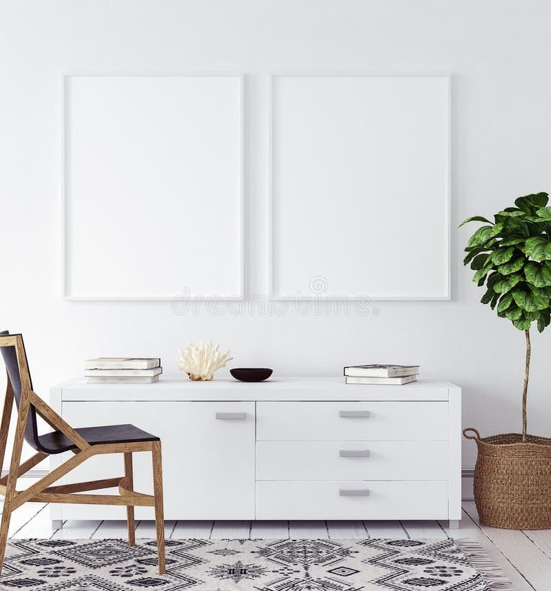 大模型海报在客厅,斯堪的纳维亚样式 免版税库存照片