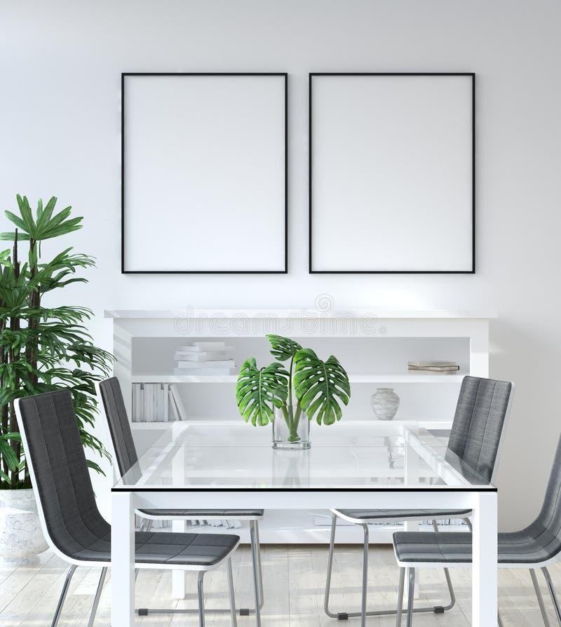 大模型海报在客厅,斯堪的纳维亚样式 免版税库存图片