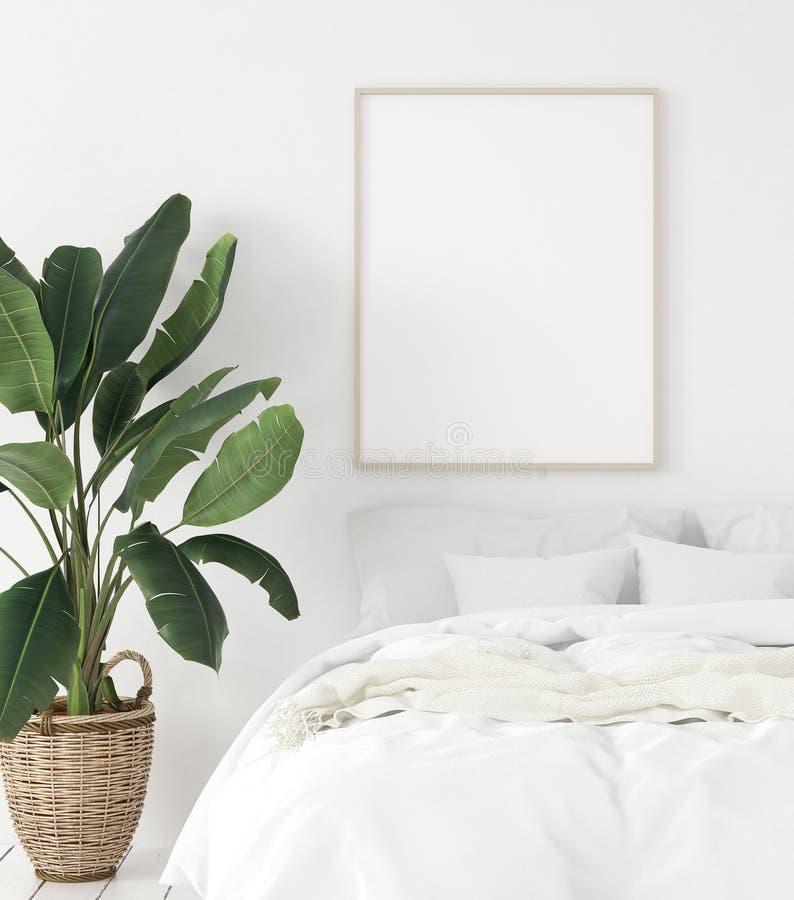大模型海报框架在卧室,斯堪的纳维亚样式 免版税库存照片
