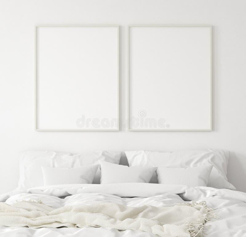 大模型海报框架在卧室,斯堪的纳维亚样式 皇族释放例证