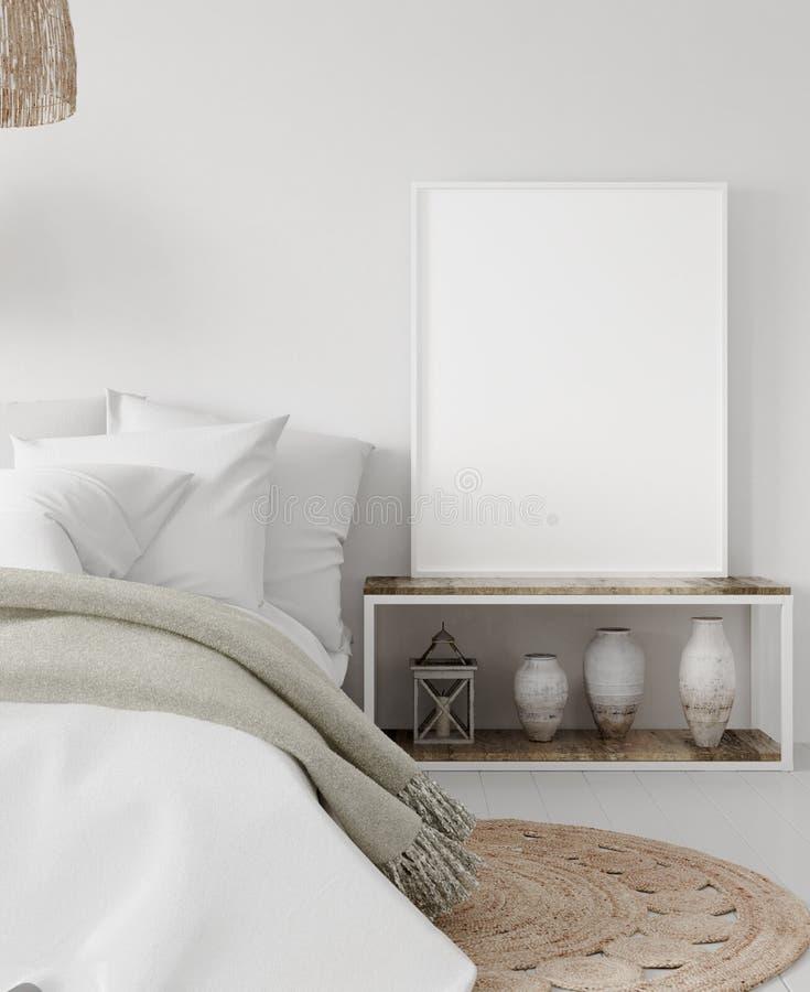 大模型海报框架在卧室,斯堪的纳维亚样式 库存图片
