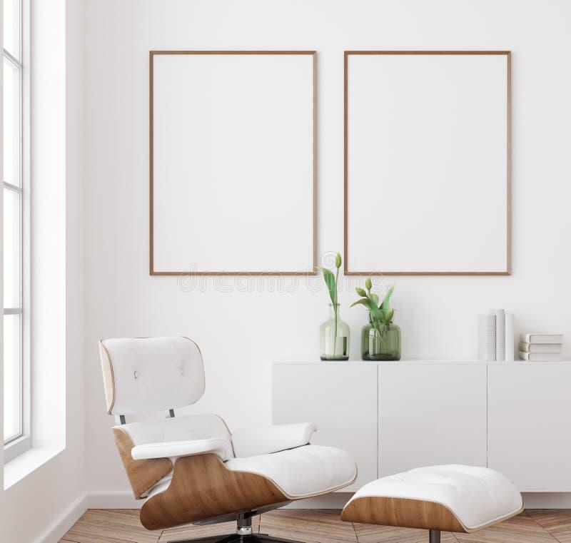 大模型海报框架在白色客厅内部背景,斯堪的纳维亚样式中 皇族释放例证