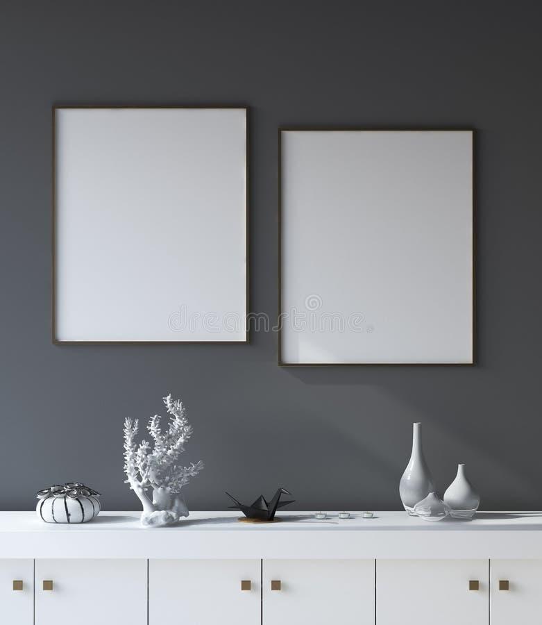 大模型海报框架在黑暗的客厅内部背景中 库存例证