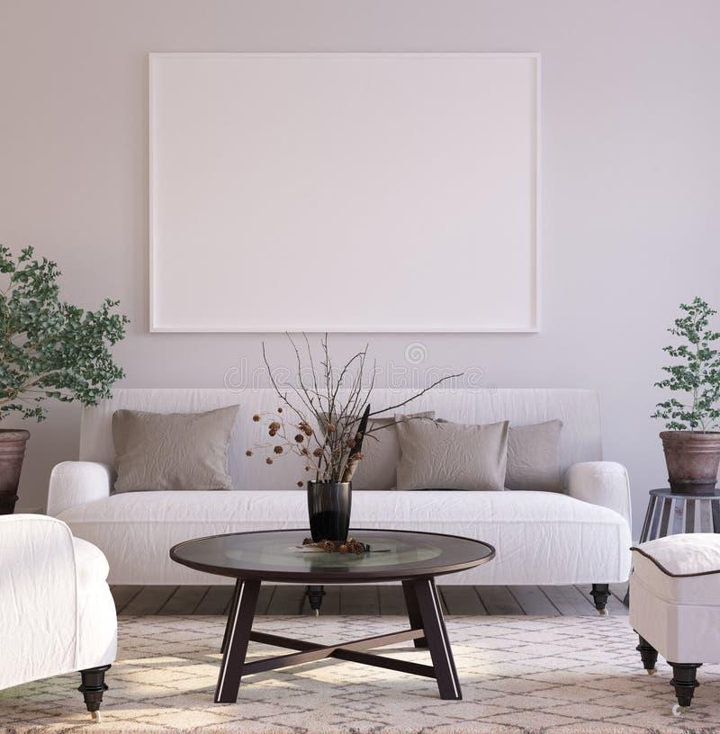 大模型海报背景在内部的客厅,斯堪的纳维亚样式 免版税库存照片