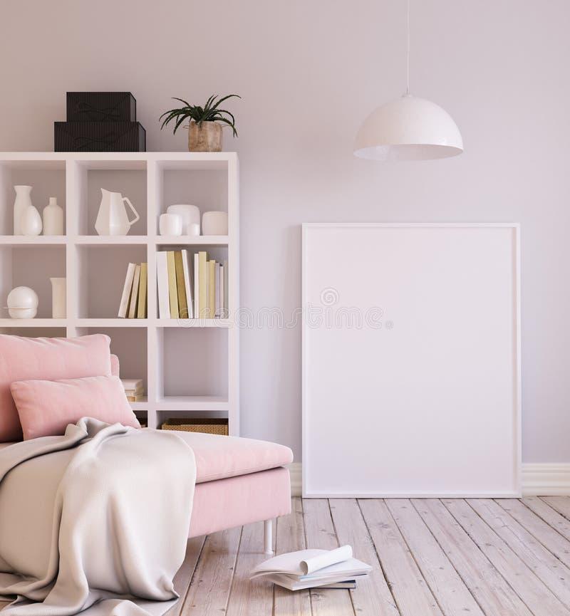 大模型海报背景在内部的客厅,斯堪的纳维亚样式 库存图片