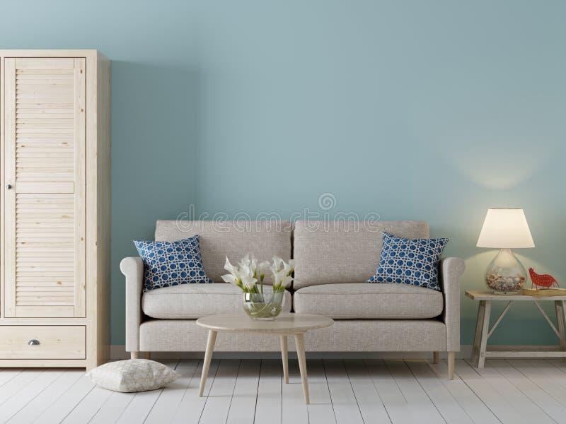 大模型的空的墙壁在内部背景、斯堪的纳维亚样式与沙发和内阁中 库存例证