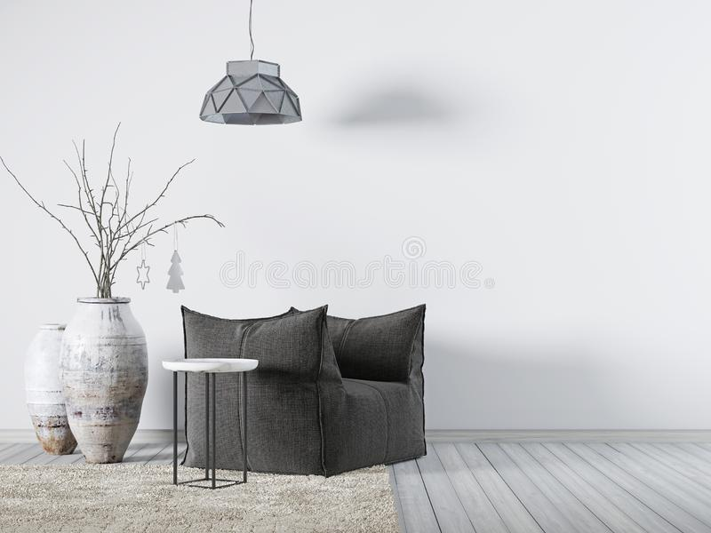 大模型的空的墙壁在内部背景,斯堪的纳维亚样式中 库存例证