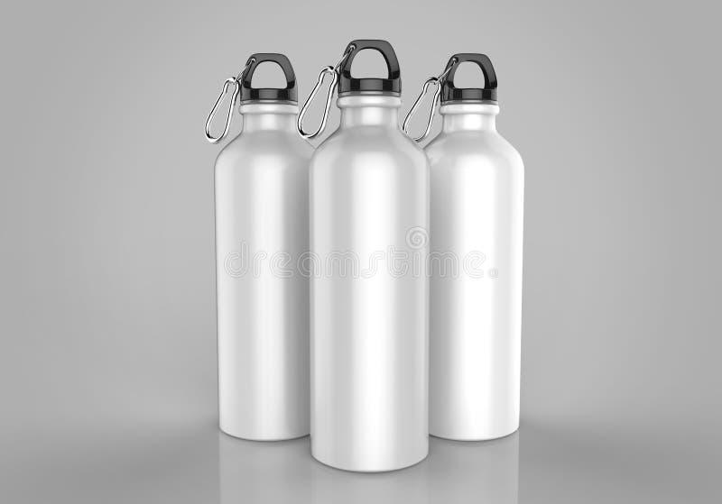 大模型的铝发光的吸者瓶和模板设计 3d例证回报 库存例证