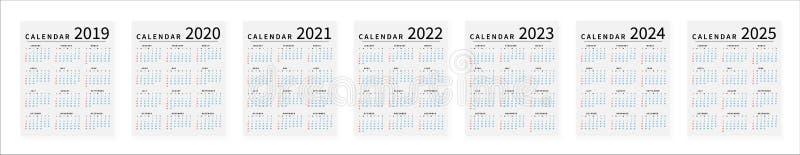 大模型简单的日历布局2019年到2025年 r 向量例证