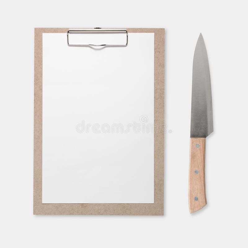大模型被隔绝的笔记板和刀子集合的设计观念 库存图片
