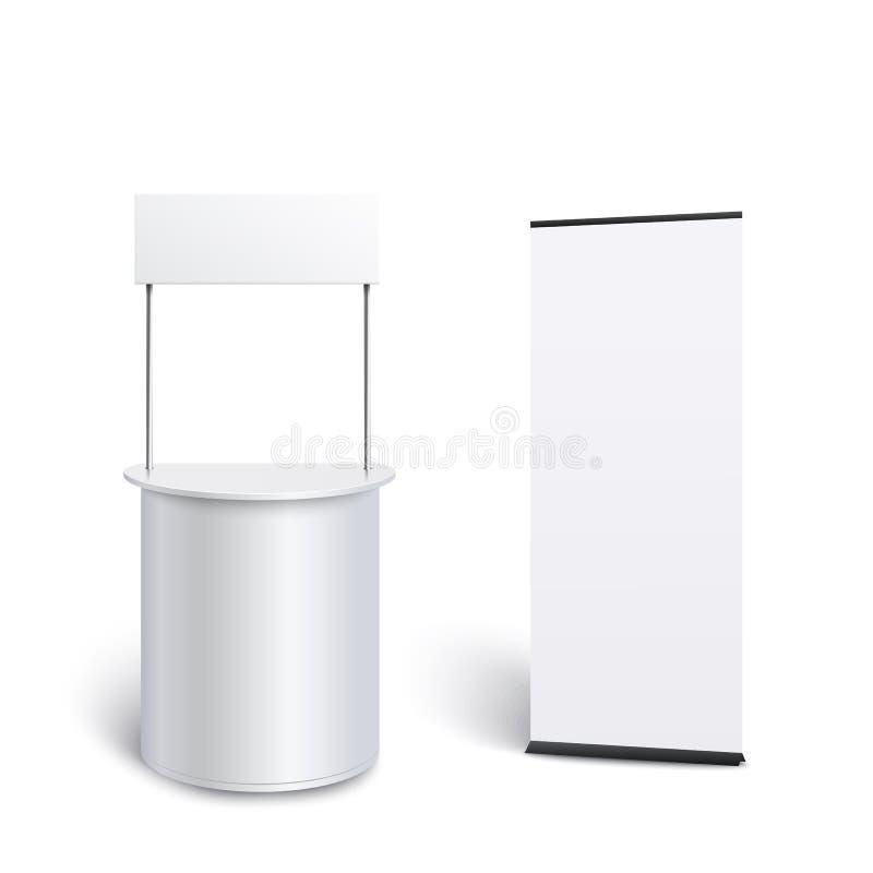 大模型设置空的白色促进柜台并且卷起横幅现实样式 向量例证