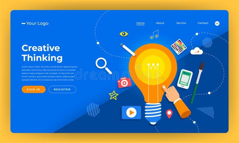 大模型设计网站平的设计观念创造性的想法thinkin 库存例证