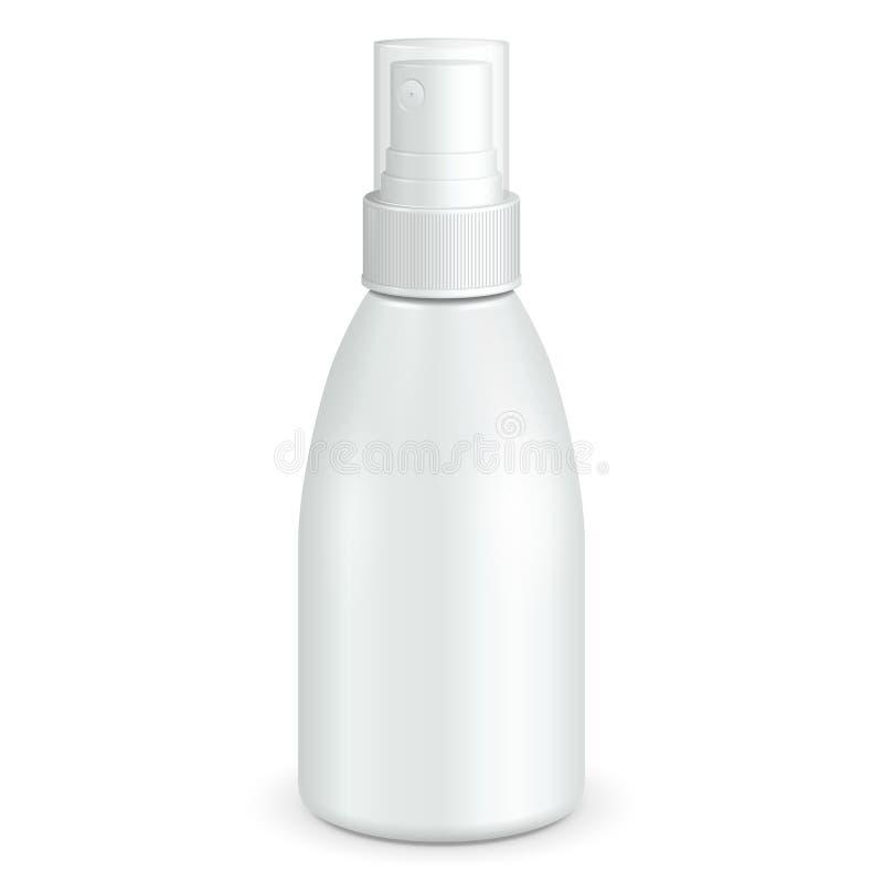 大模型,假装浪花化妆用品香水、防臭剂或者医疗防腐药物塑料瓶白色 查出 库存例证