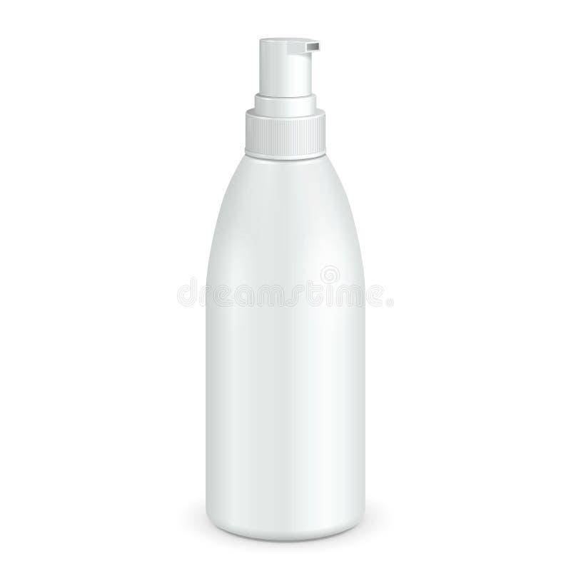 大模型,假装浪花化妆香水、防臭剂或者医疗药物塑料瓶 背景查出的白色 向量例证