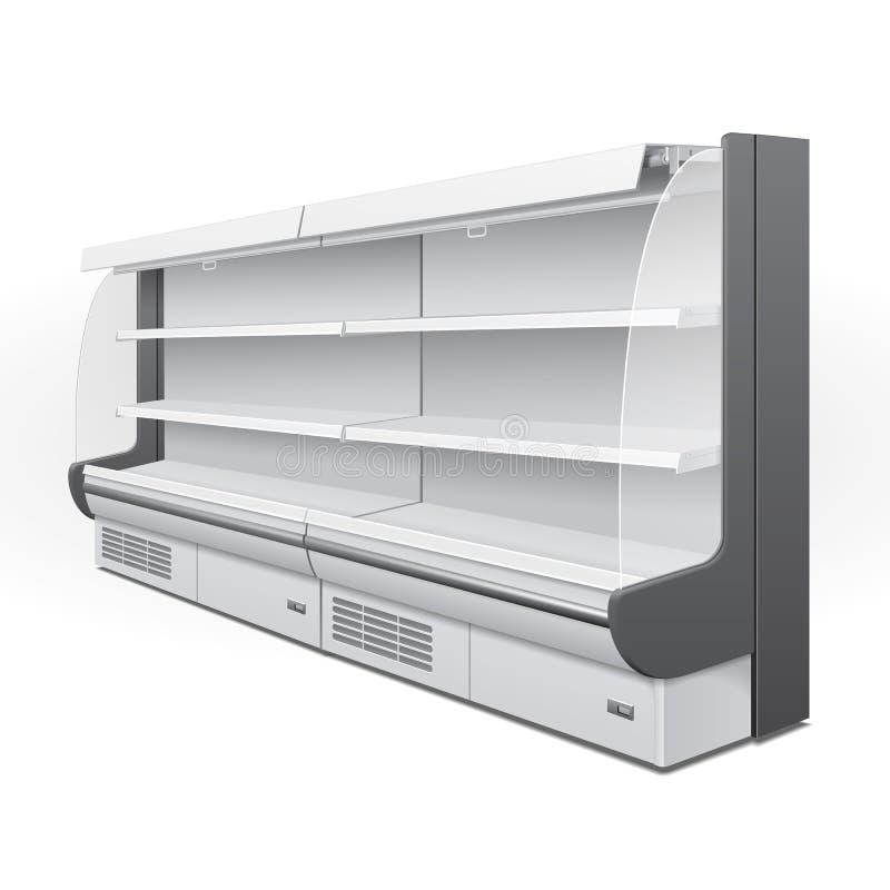 大模型,嘲笑冷却的豪华机架冰箱壁柜空的陈列室显示 零售架子 3d 查出 皇族释放例证