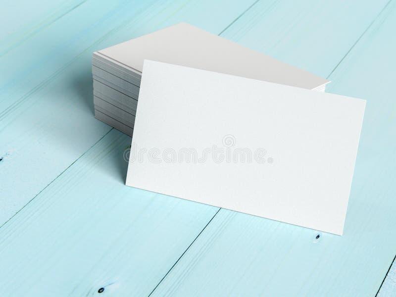 大模型,在工作书桌木桌上的空白的名片 库存例证