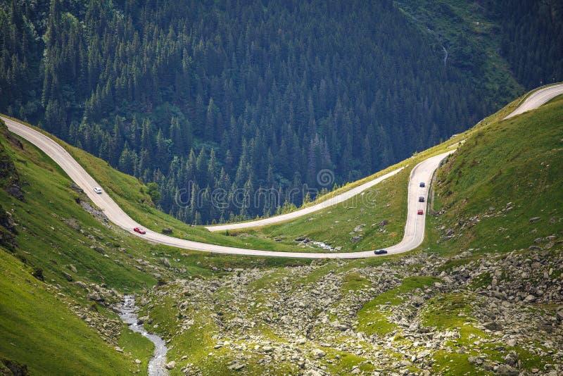 大横向山山 Transfagarasan高速公路,最美丽的路在欧洲,罗马尼亚 Transfagarashan 库存图片