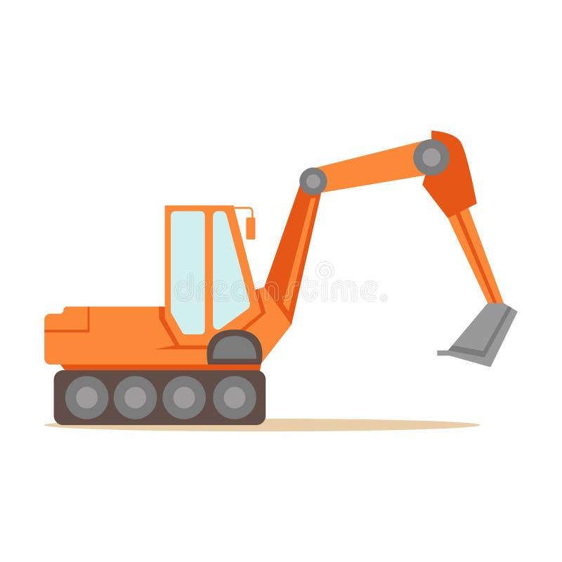 大橙色挖掘机机器、一部分的长跑训练和传染媒介例证建造场所系列  库存例证