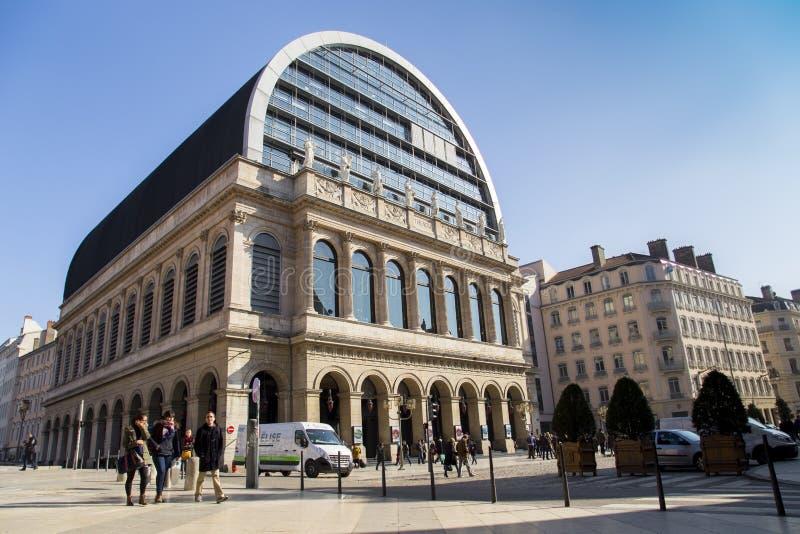 大歌剧议院(Opéra全国de利昂)是歌剧院在利昂,法国 库存照片