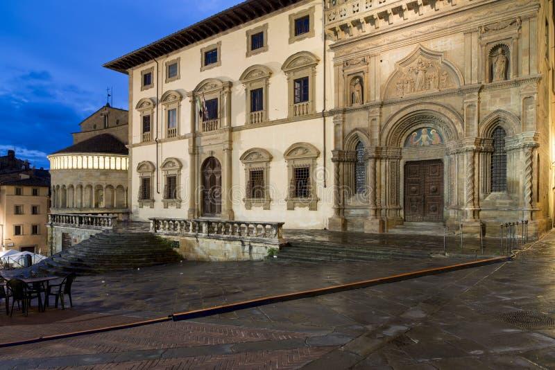 大正方形或vasari夜阿雷佐托斯坎意大利欧洲 库存照片