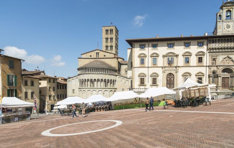 大正方形或vasari阿雷佐托斯卡纳意大利欧洲 库存照片