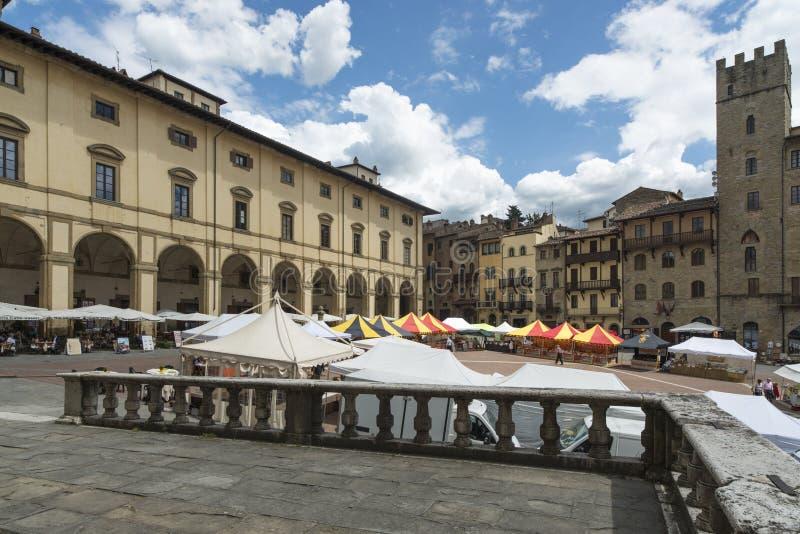 大正方形或vasari阿雷佐托斯坎意大利欧洲 免版税库存图片