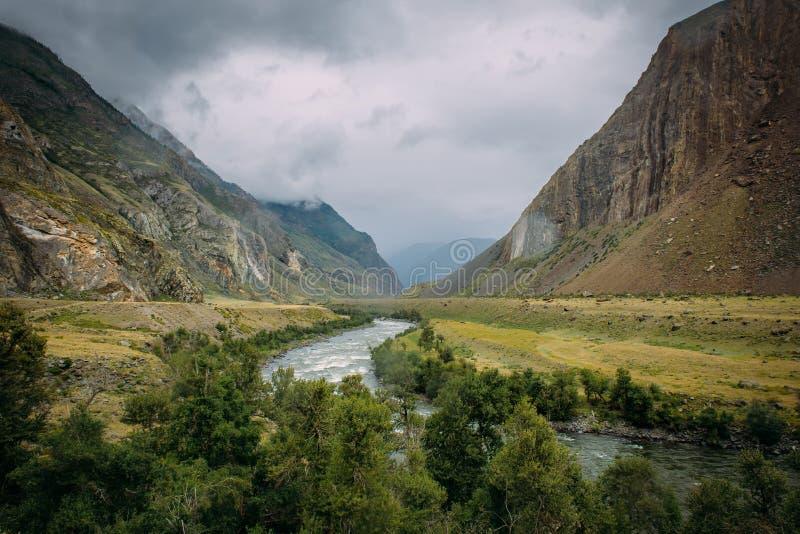 大气山风景在Chulyshman谷的一多云有雾的天  河在绿色山谷跑 免版税库存图片