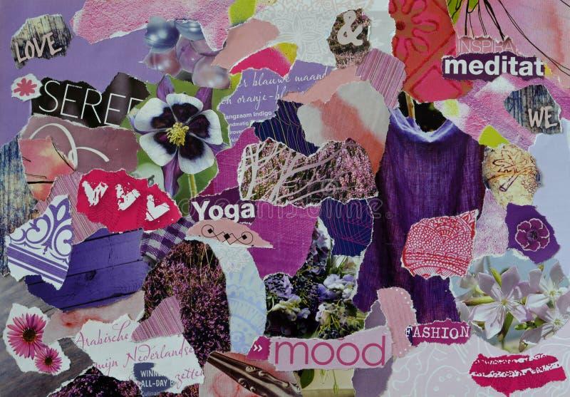 大气心情委员会在紫色,桃红色和靛蓝颜色的拼贴画板料由与图,信件,颜色的被撕毁的杂志纸制成 库存图片