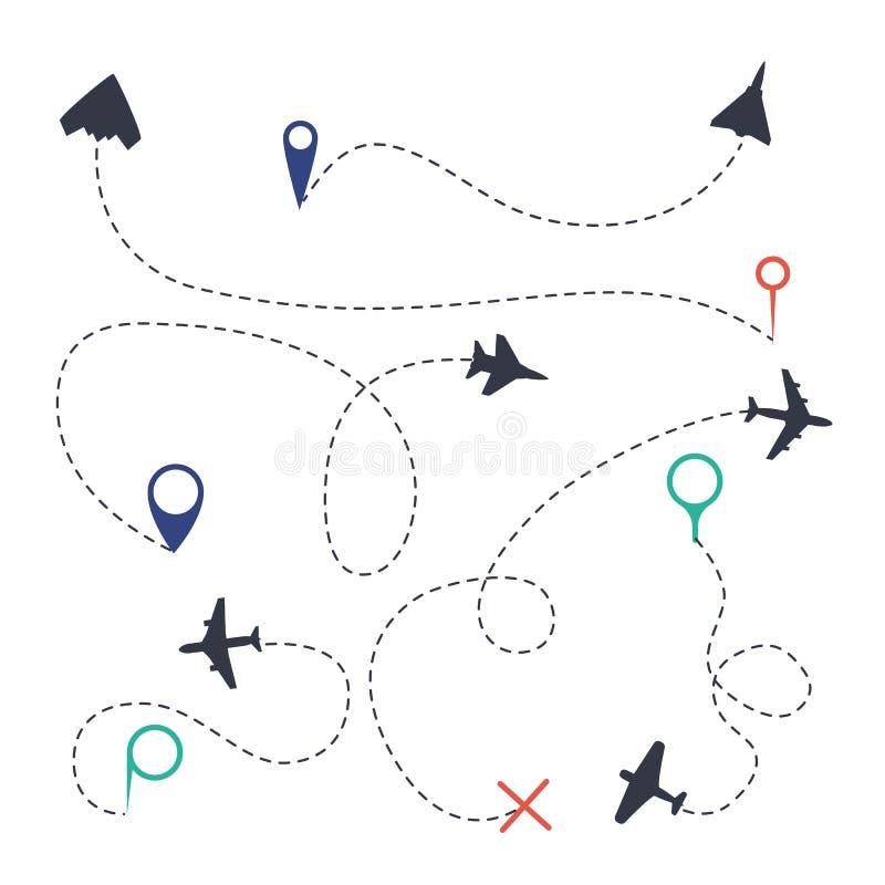大气路径集合 与飞行足迹小点标志和路被隔绝的向量图形收藏的飞机线路跟踪程序或表 库存例证