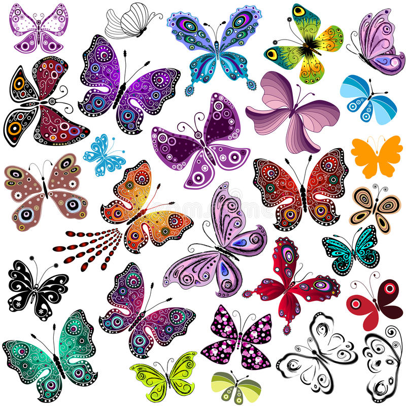 大汇集剪影五颜六色的蝴蝶 库存例证