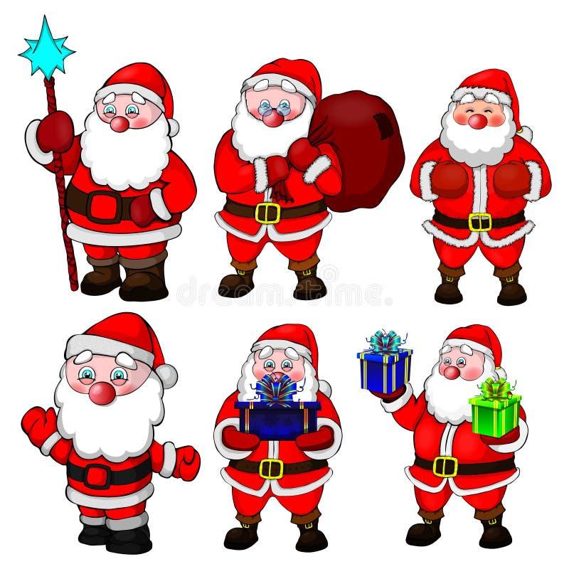 大汇集圣诞节圣诞老人姿势 向量例证