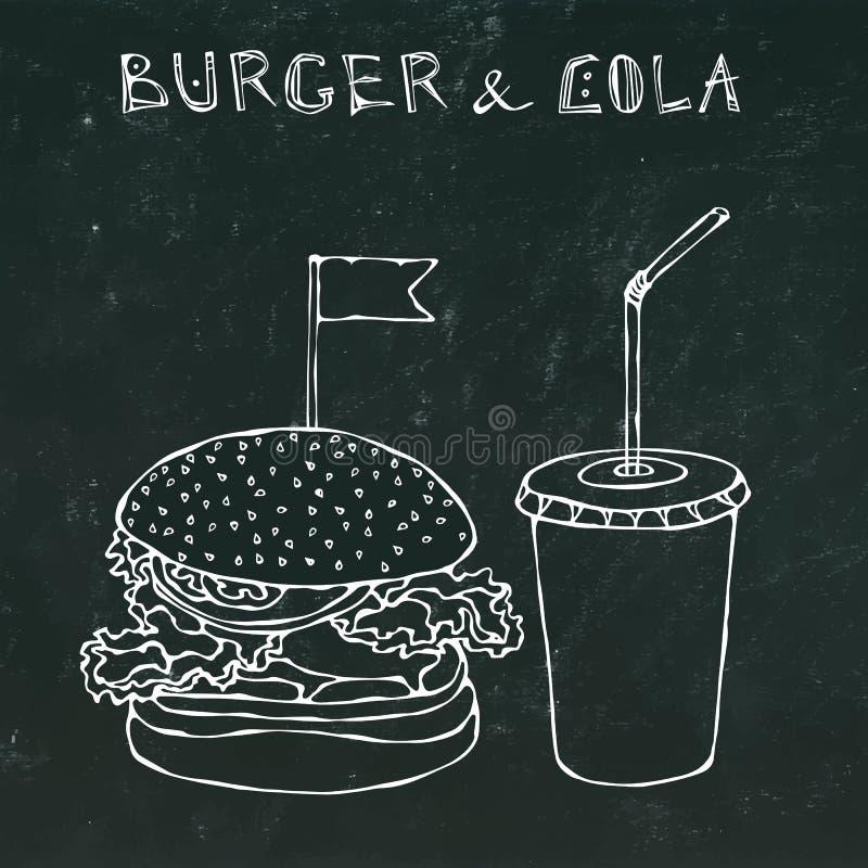 大汉堡、汉堡包或者乳酪汉堡和软饮料苏打或者可乐 快餐外卖象 外卖食品标志 可实现 库存例证