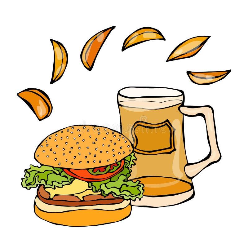 大汉堡包或乳酪汉堡、啤酒杯或者品脱和土豆楔子 汉堡商标 背景查出的白色 现实乱画C 皇族释放例证
