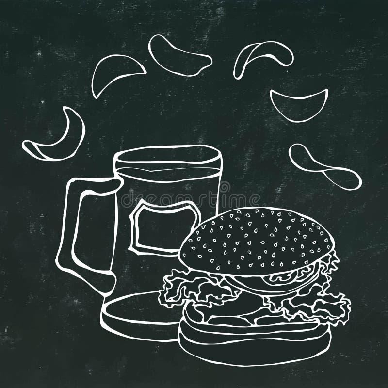 大汉堡包或乳酪汉堡、啤酒杯或者品脱和土豆片 汉堡商标 背景查出的白色 可实现 皇族释放例证