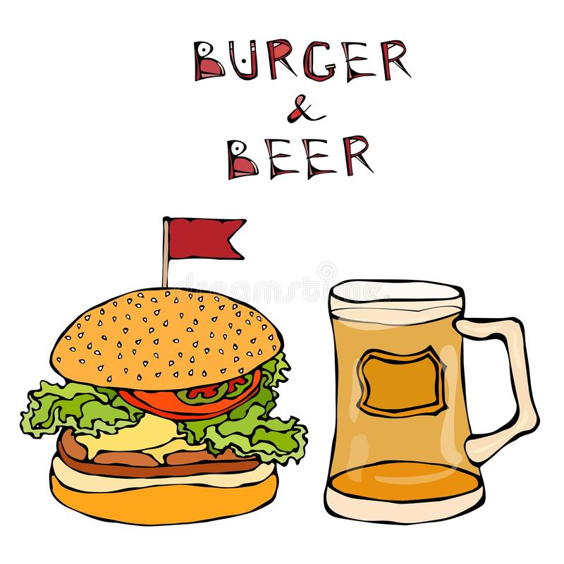 大汉堡包或乳酪汉堡和啤酒杯或者品脱 汉堡字法 背景查出的白色 现实乱画动画片猪圈 皇族释放例证
