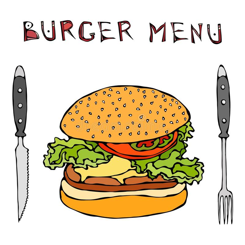 大汉堡包或乳酪汉堡 汉堡菜单字法、刀子和叉子 背景查出的白色 现实乱画动画片猪圈 向量例证