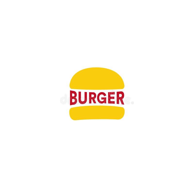 大汉堡餐馆商标模板 黄色大面包和红色sousage或汉堡文本,简单的平的抽象传染媒介 皇族释放例证