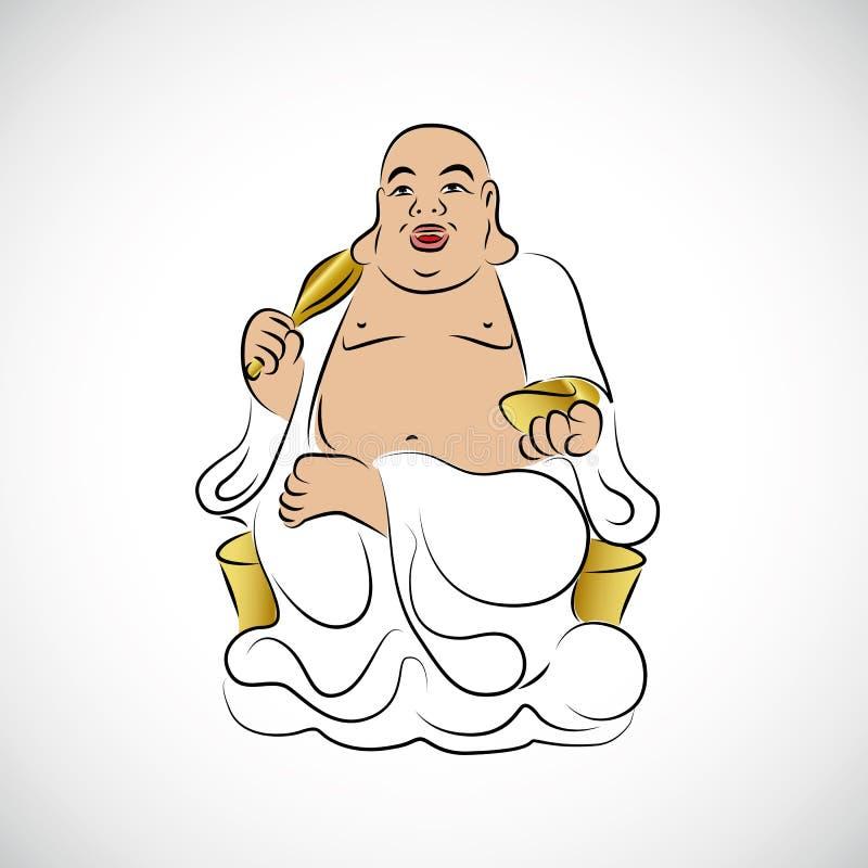 大泰国菩萨金黄雕象 皇族释放例证