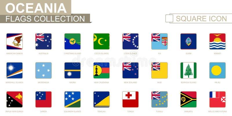 大洋洲方形的旗子  从美属萨摩亚向瓦利斯和富图纳群岛 皇族释放例证