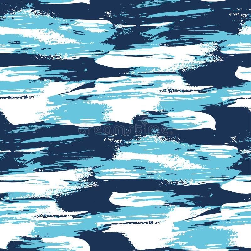大海刷子冲程现代无缝的样式 向量例证