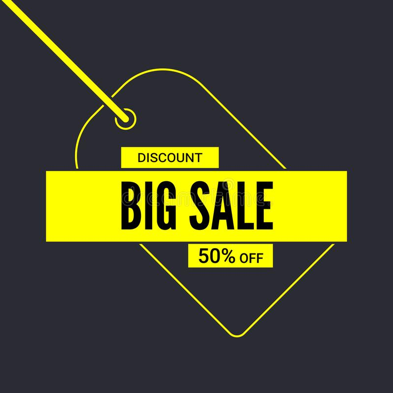 大海报销售额 起来对百分之五十折扣 与标记的简单的黄色广告横幅和文本设计 大销售额 库存例证