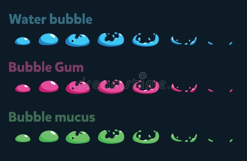 大海泡影的魍魉板料,泡泡糖,泡影黏液 动画片或比赛的动画 皇族释放例证