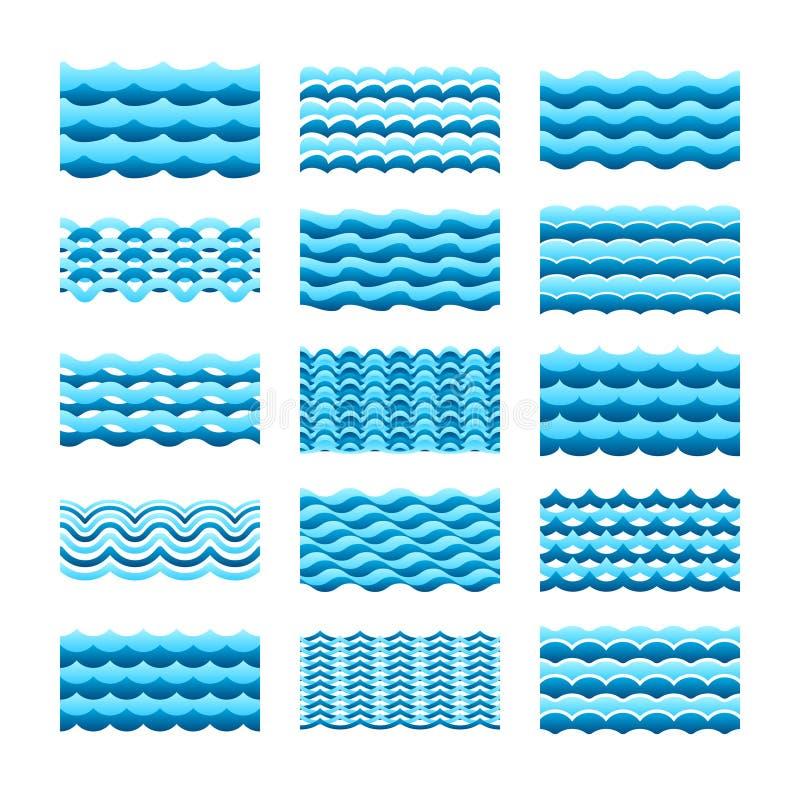 大海波向量瓦片为无缝的样式和纹理设置了 向量例证