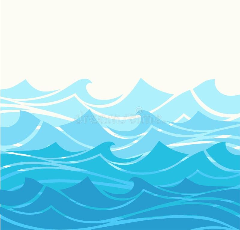 大海海挥动抽象传染媒介背景 水波曲线背景,海洋横幅例证 库存例证