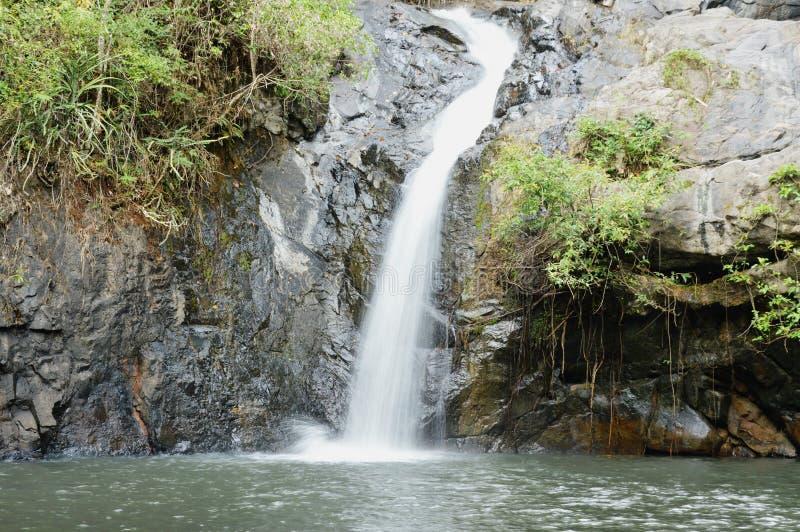 大瀑布在Jetkod-Pongkonsao旅行地点的森林里泰国的 免版税库存图片