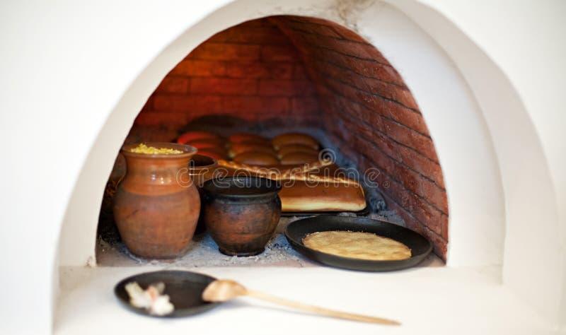 大火炉用里面食物 库存图片