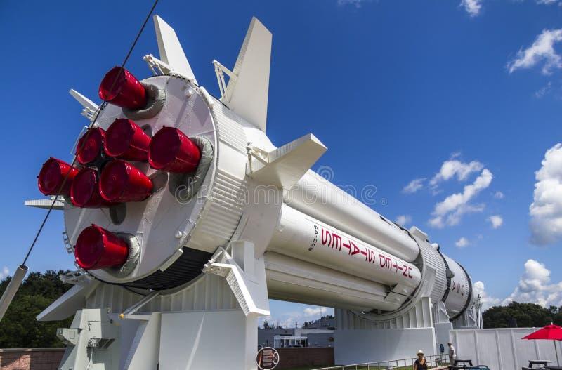 大火箭队在肯尼迪航天中心中 库存照片